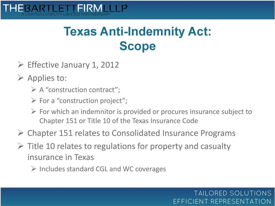 or Title 10 of the Texas Insurance Code Chapter 151 relates to Consolidated Insurance Programs Title 10