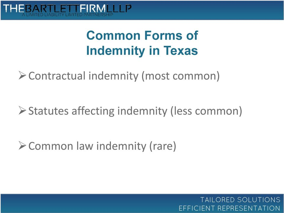 Statutes affecting indemnity (less