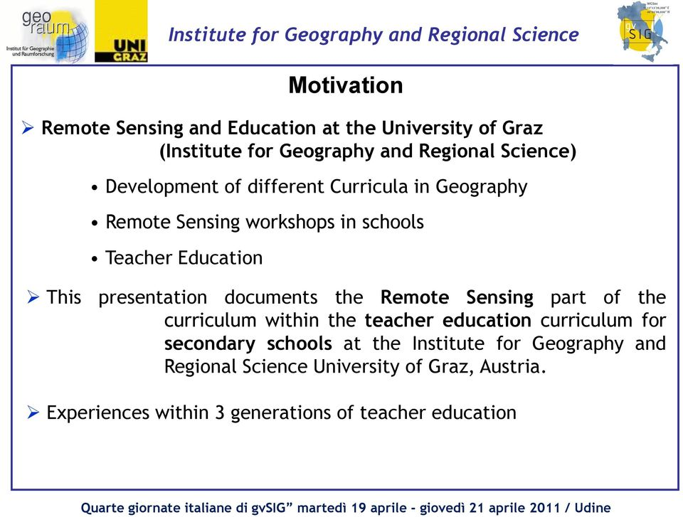documents the Remote Sensing part of the curriculum within the teacher education curriculum for secondary schools at the
