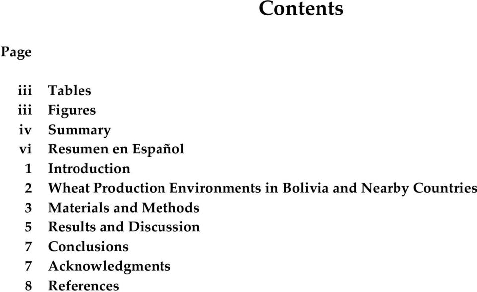 Bolivia and Nearby Countries 3 Materials and Methods 5
