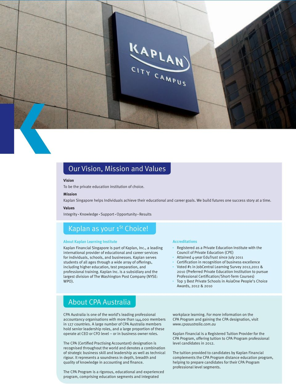 About Kaplan Learning Institute Kaplan Financial Singapore is part of Kaplan, Inc., a leading international provider of educational and career services for individuals, schools, and businesses.