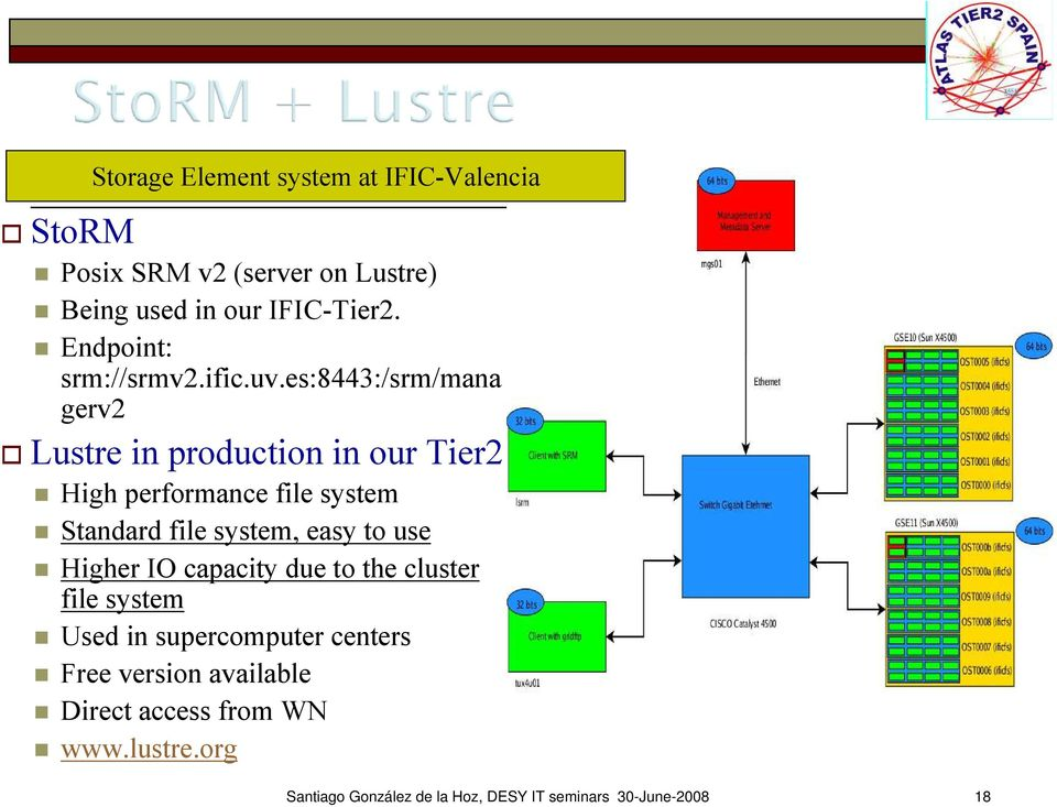 es:8443:/srm/mana gerv2 Lustre in production in our Tier2 High performance file system Standard file system, easy