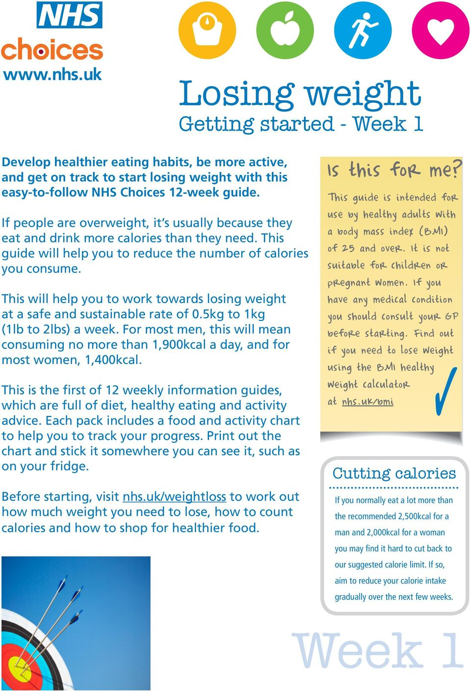 This will help you to work towards losing weight at a safe and sustainable rate of 0.5kg to 1kg (1lb to 2lbs) a week.