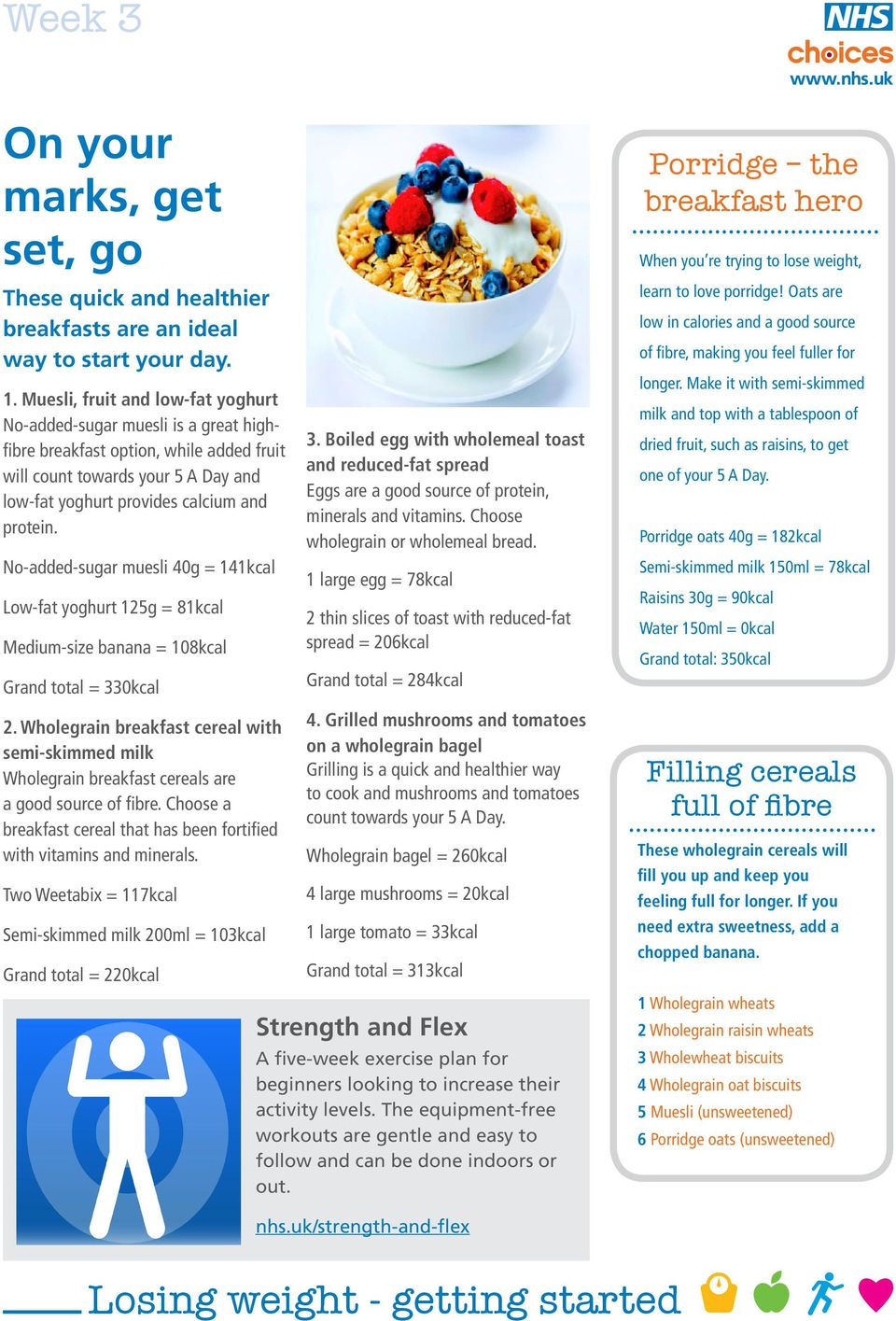 No-added-sugar muesli 40g = 141kcal Low-fat yoghurt 125g = 81kcal Medium-size banana = 108kcal Grand total = 330kcal 2.