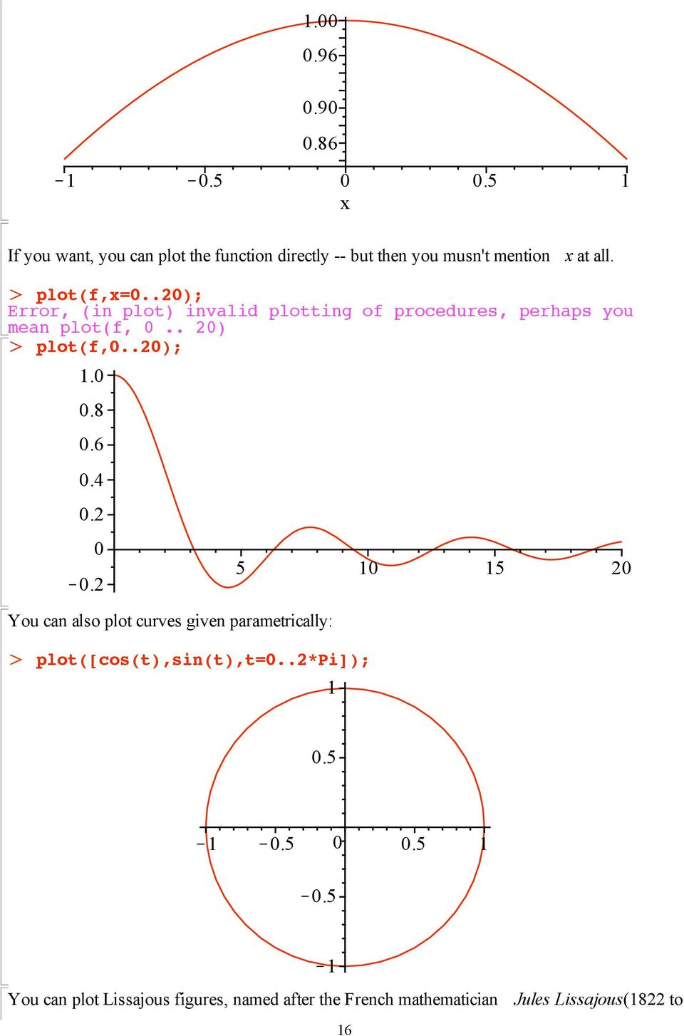 .20); Error, (in plot) invalid plotting of procedures, perhaps you mean plot(f, 0.. 20) plot(f,0..20); 1.0 0.8 0.6 0.4 0.