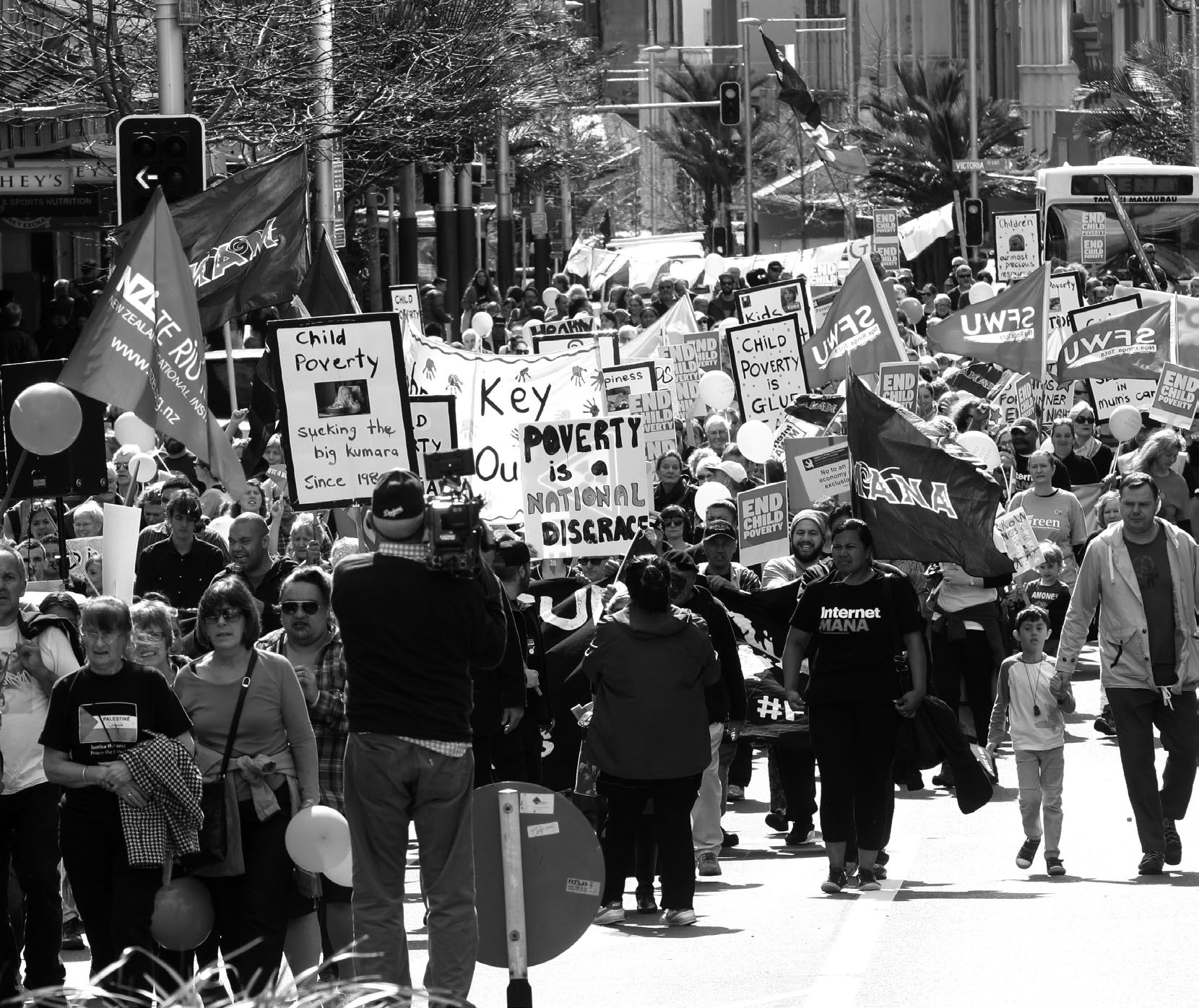 Hikoi demonstration against child poverty in Queen Street, Auckland.