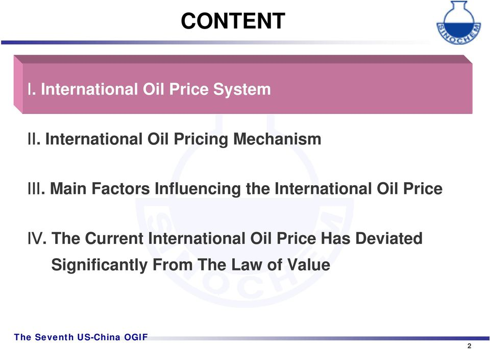 Main Factors Influencing International Oil Price Ⅳ.