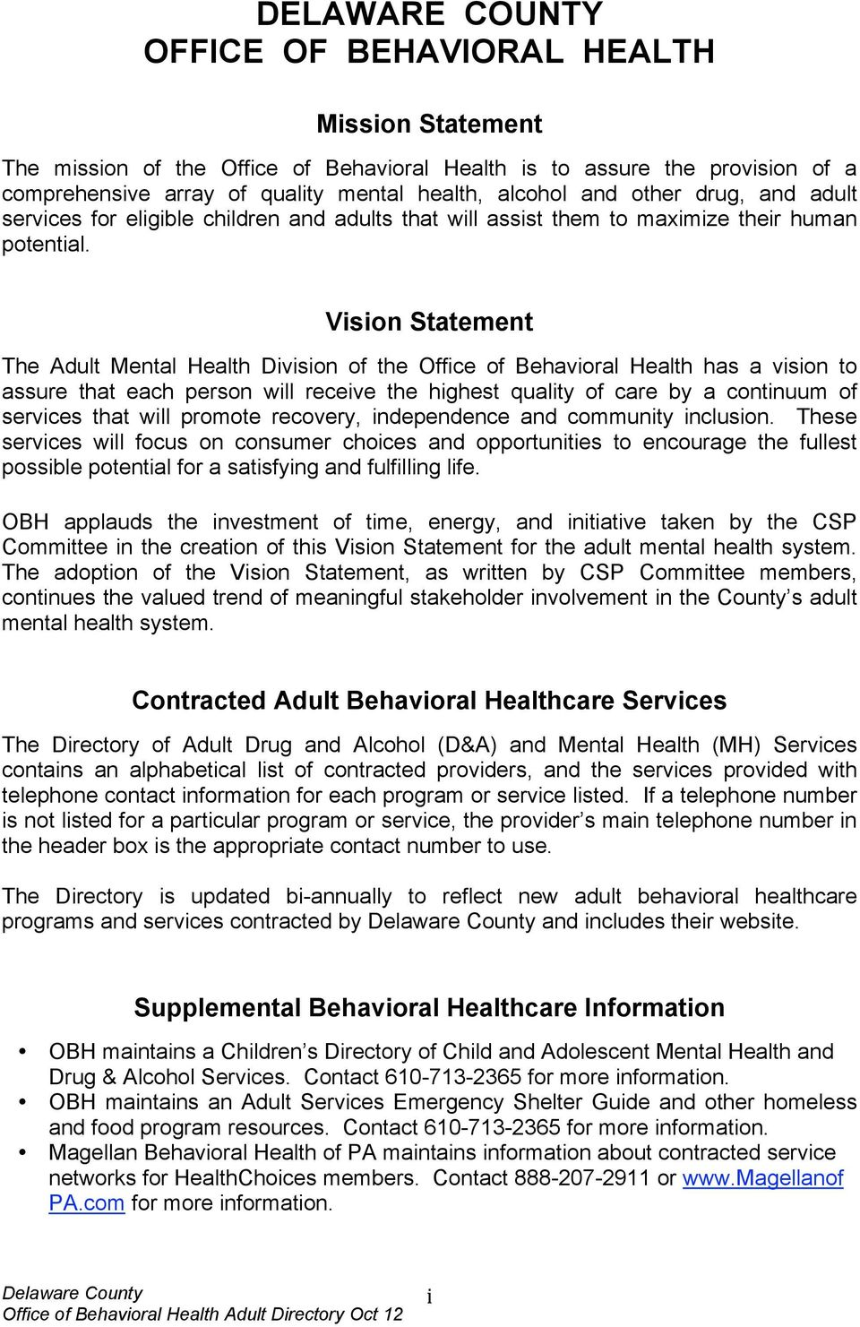 Vision Statement The Adult Mental Health Division of the Office of Behavioral Health has a vision to assure that each person will receive the highest quality of care by a continuum of services that