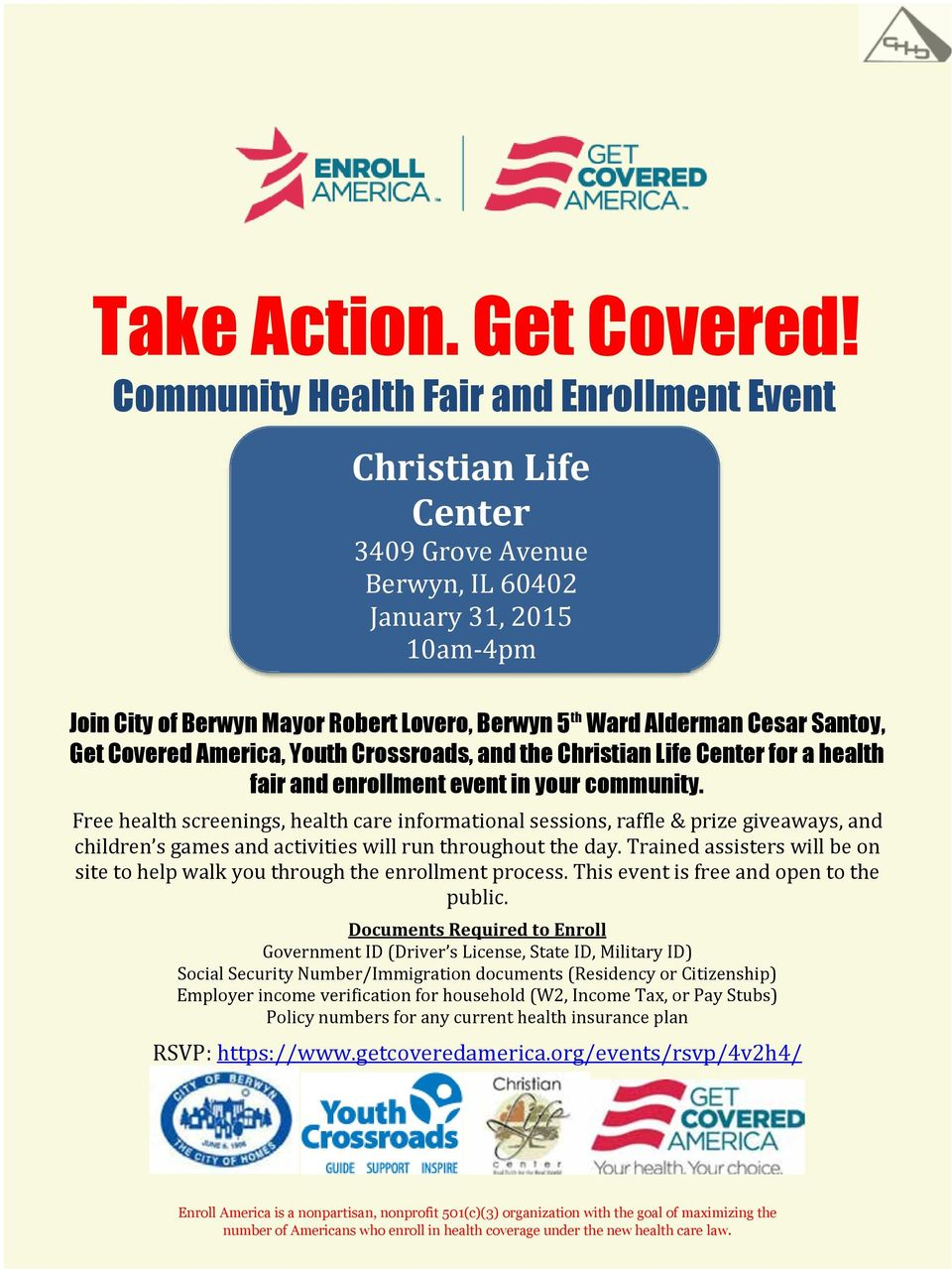 Santoy, Get Covered America, Youth Crossroads, and the Christian Life Center for a health fair and enrollment event in your community.