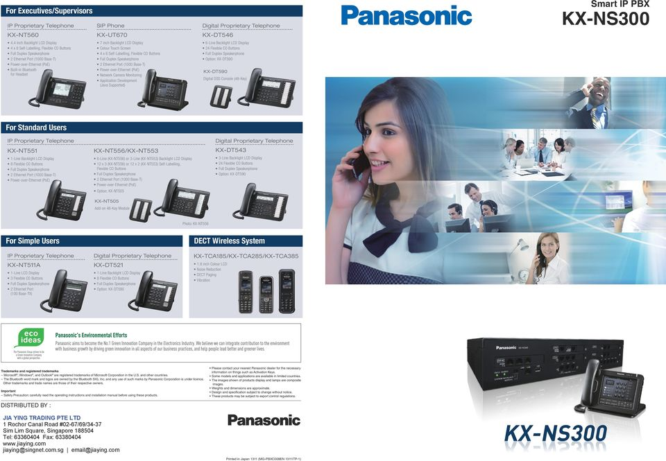 Network Camera Monitoring Application Development (Java Supported) 6-Line Backlight LCD Display 24 Flexible CO Buttons Option: KX-DT590 KX-DT590 Digital DSS Console (48-Key) For Standard Users