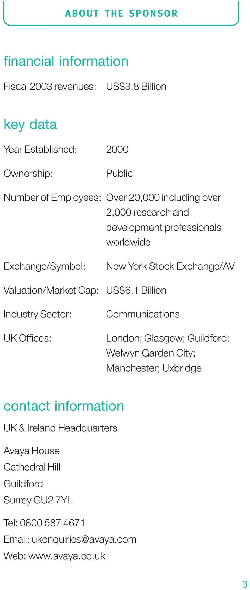 professionals worldwide Exchange/Symbol: New York Stock Exchange/AV Valuation/Market Cap: US$6.