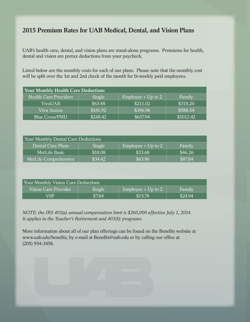 Please note that the monthly cost will be split over the 1st and 2nd check of the month for bi-weekly paid employees.