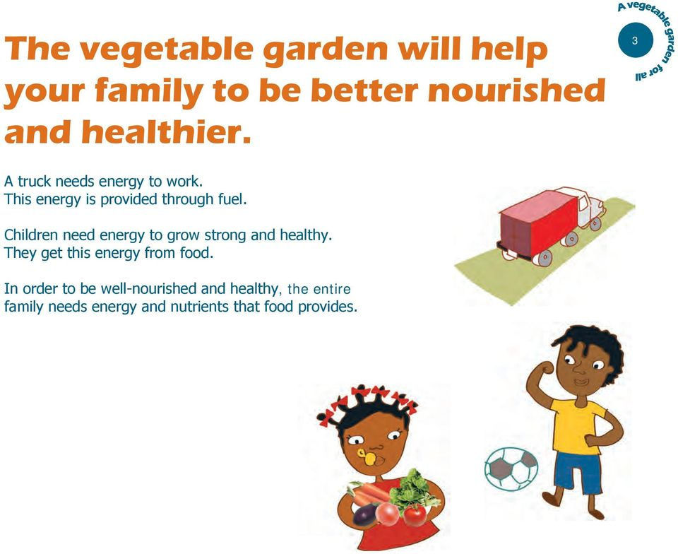 Children need energy to grow strong and healthy. They get this energy from food.