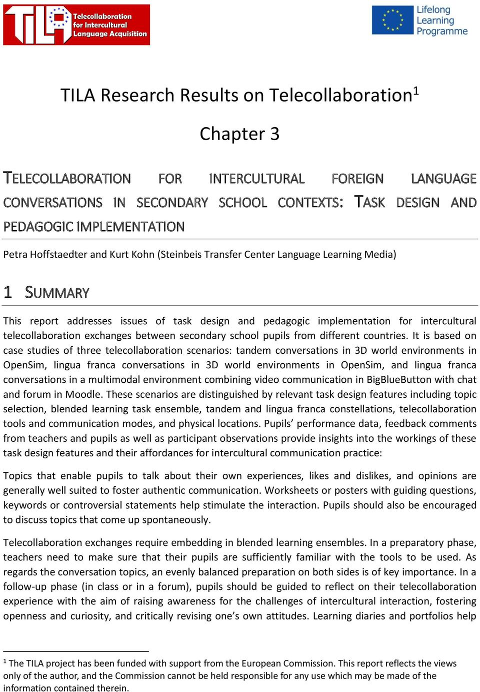 TILA Research Results on Telecollaboration 1 Chapter 3 - PDF
