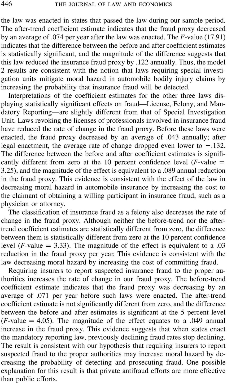 91) indicates that the difference between the before and after coefficient estimates is statistically significant, and the magnitude of the difference suggests that this law reduced the insurance