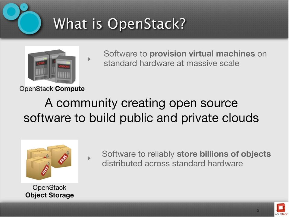 scale OpenStack Compute A community creating open source software to build