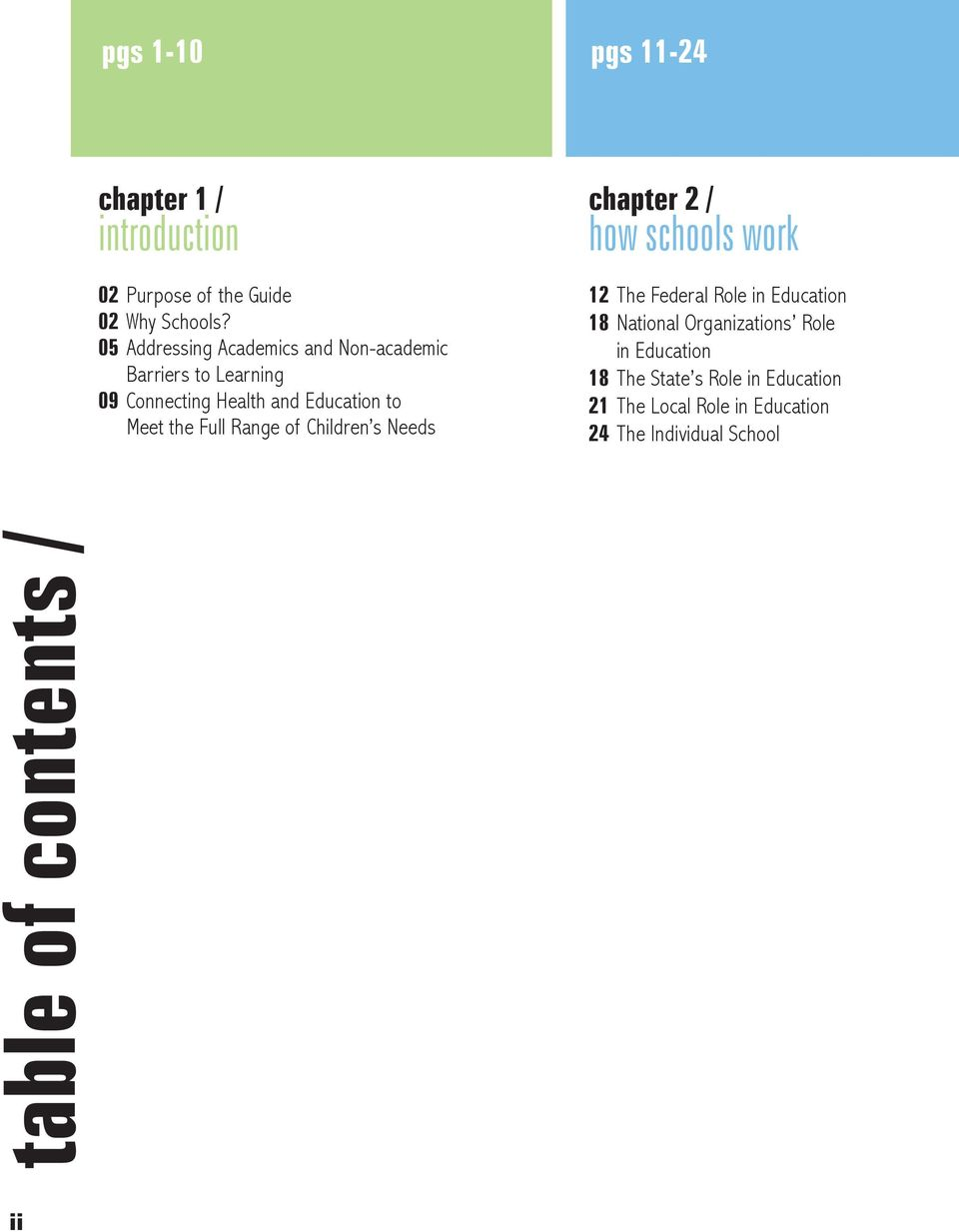 Full Range of Children s Needs chapter 2 / how schools work 12 The Federal Role in Education 18 National