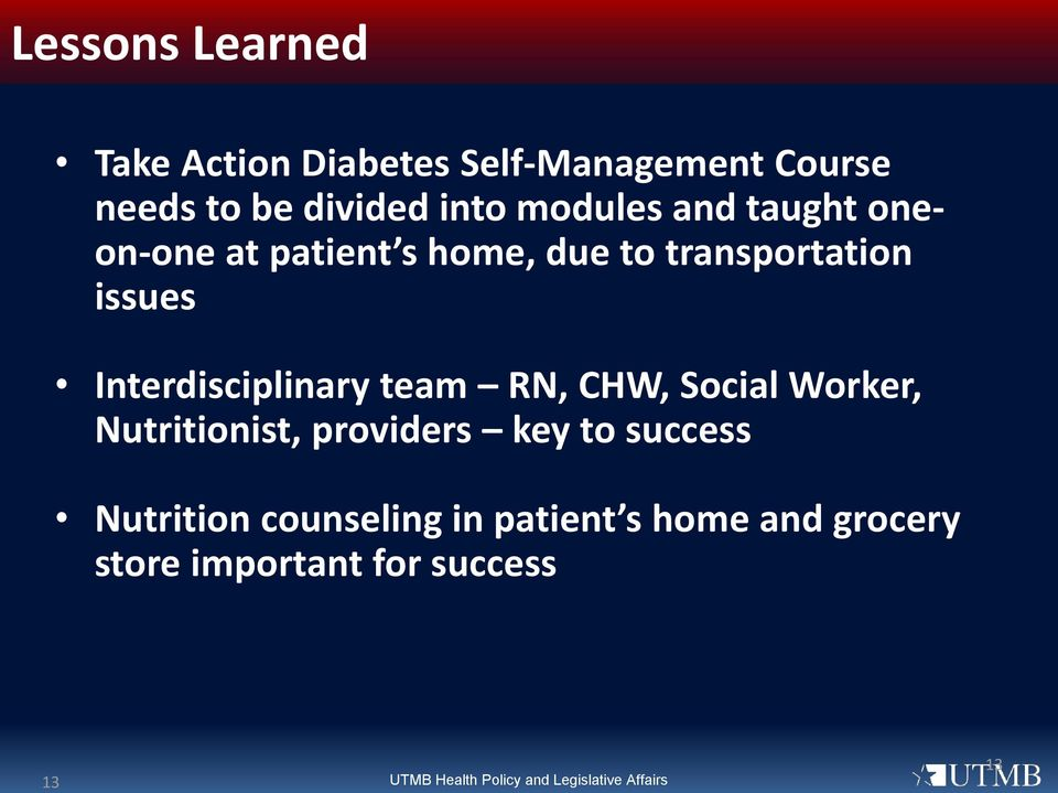 RN, CHW, Social Worker, Nutritionist, providers key to success Nutrition counseling in