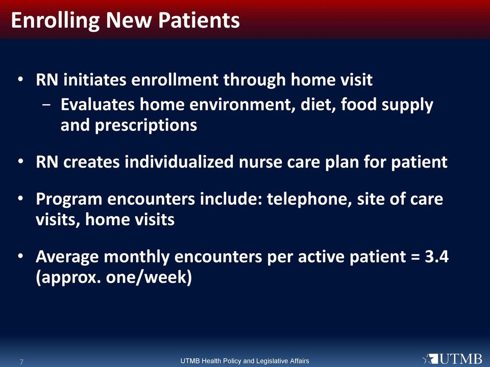 for patient Program encounters include: telephone, site of care visits, home visits Average
