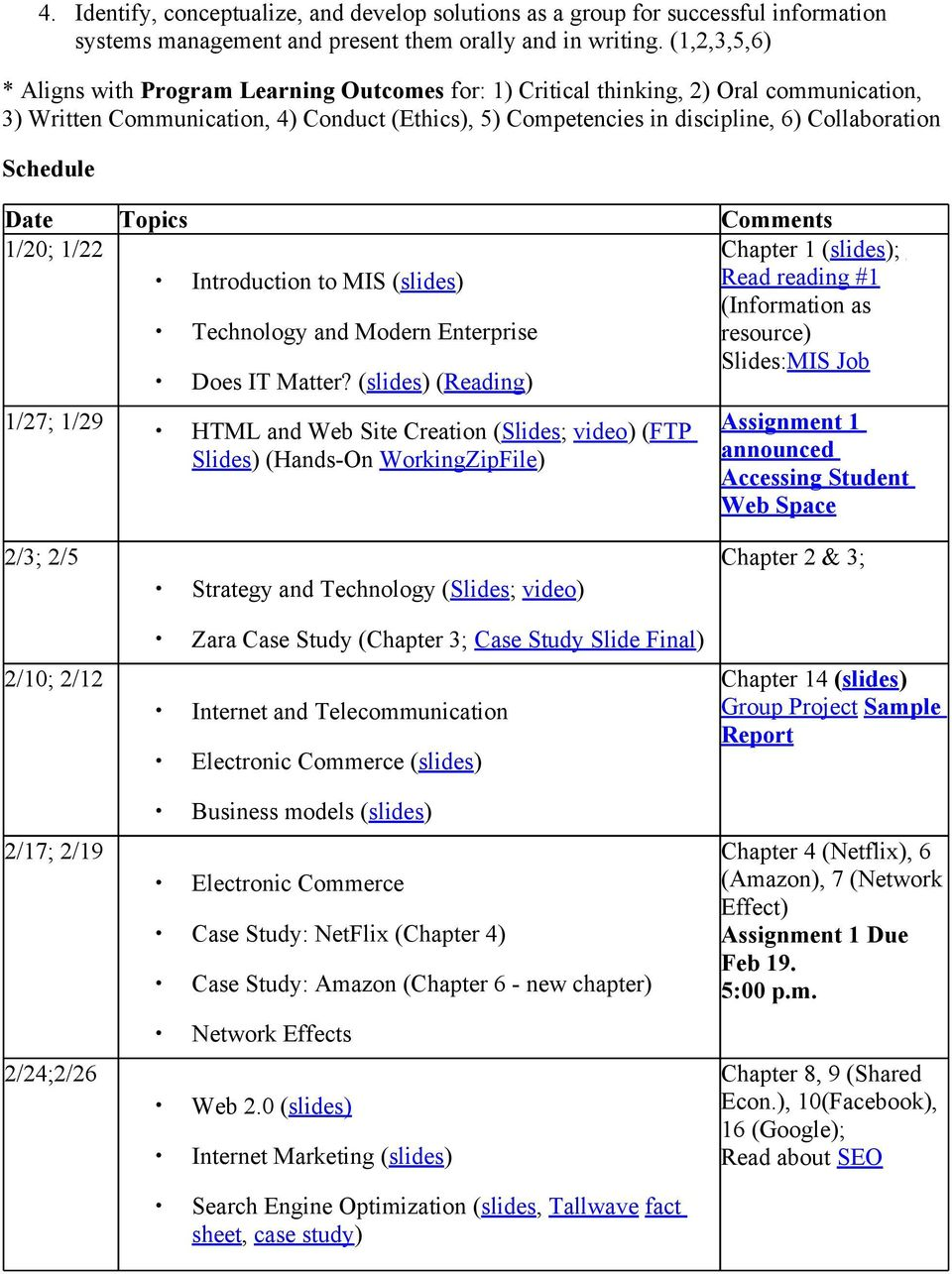 Schedule Date Topics Comments 1/20; 1/22 Chapter 1 (slides); Introduction to MIS (slides) Read reading #1 (Information as Technology and Modern Enterprise resource) Does IT Matter?