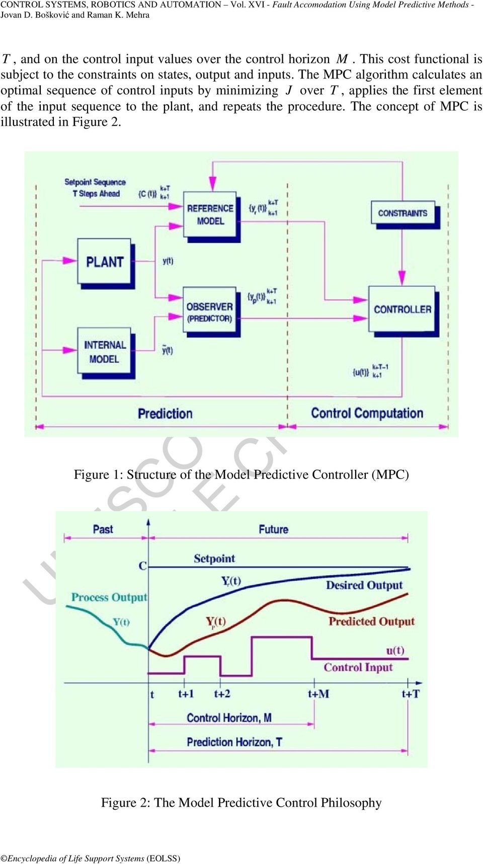 The MPC algorithm calculates an optimal sequence of control inputs by minimizing J over T, applies the first element of