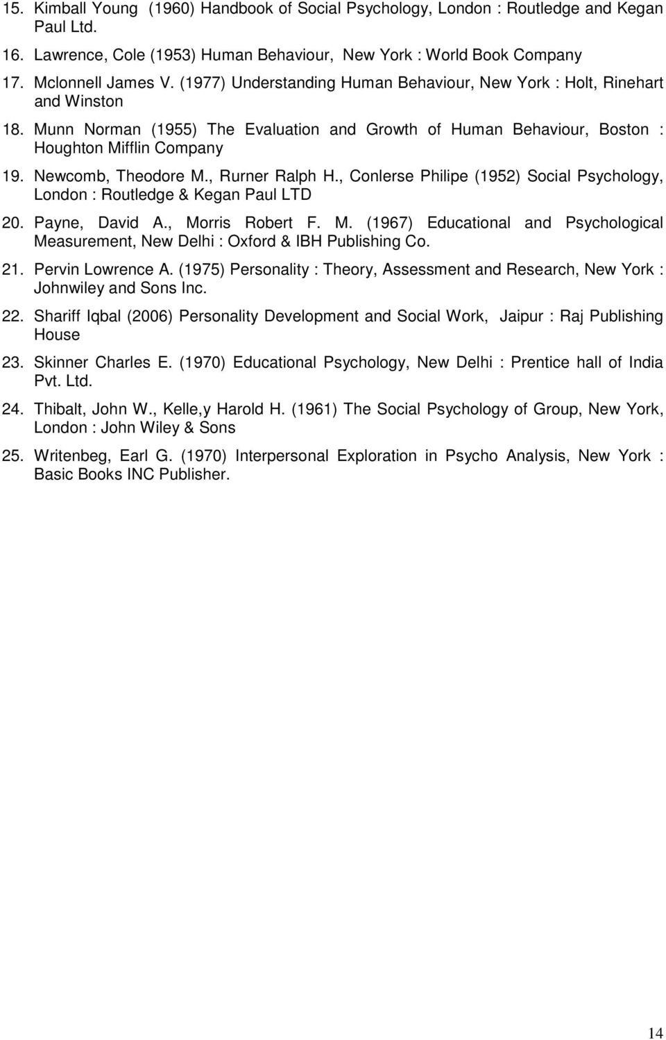 Newcomb, Theodore M., Rurner Ralph H., Conlerse Philipe (1952) Social Psychology, London : Routledge & Kegan Paul LTD 20. Payne, David A., Morris Robert F. M. (1967) Educational and Psychological Measurement, New Delhi : Oxford & IBH Publishing Co.