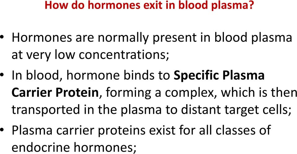 blood, hormone binds to Specific Plasma Carrier Protein, forming a complex,