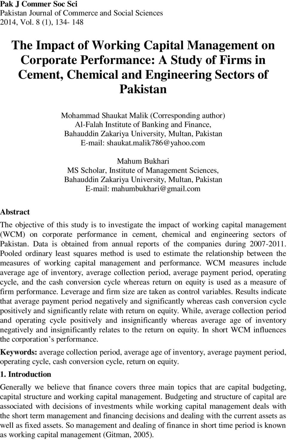 author) Al-Falah Institute of Banking and Finance, Bahauddin Zakariya University, Multan, Pakistan E-mail: shaukat.malik786@yahoo.