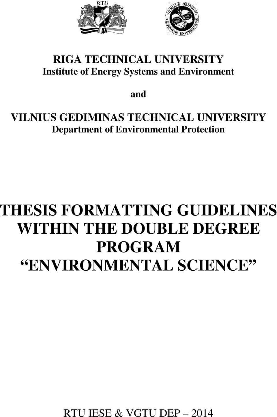 Degree thesis format