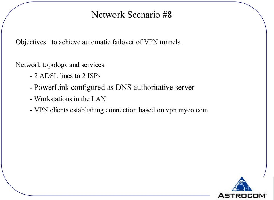 Network topology and services: - 2 ADSL lines to 2 ISPs -