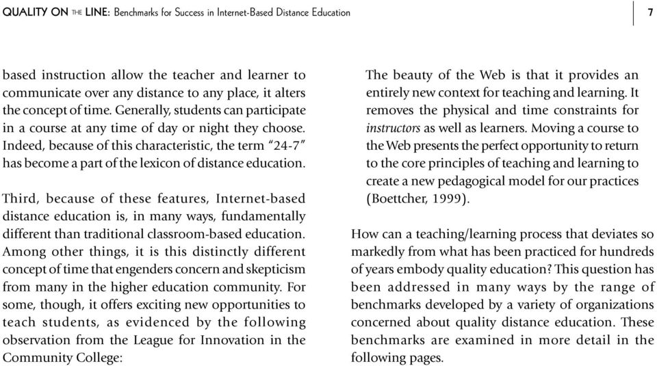 Indeed, because of this characteristic, the term 24-7 has become a part of the lexicon of distance education.