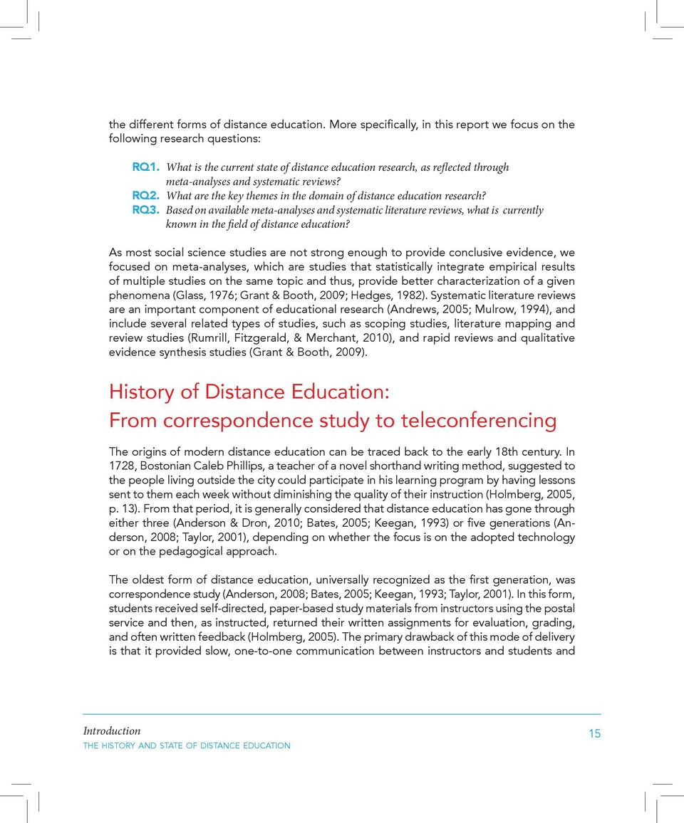 Based on available meta-analyses and systematic literature reviews, what is currently known in the field of distance education?