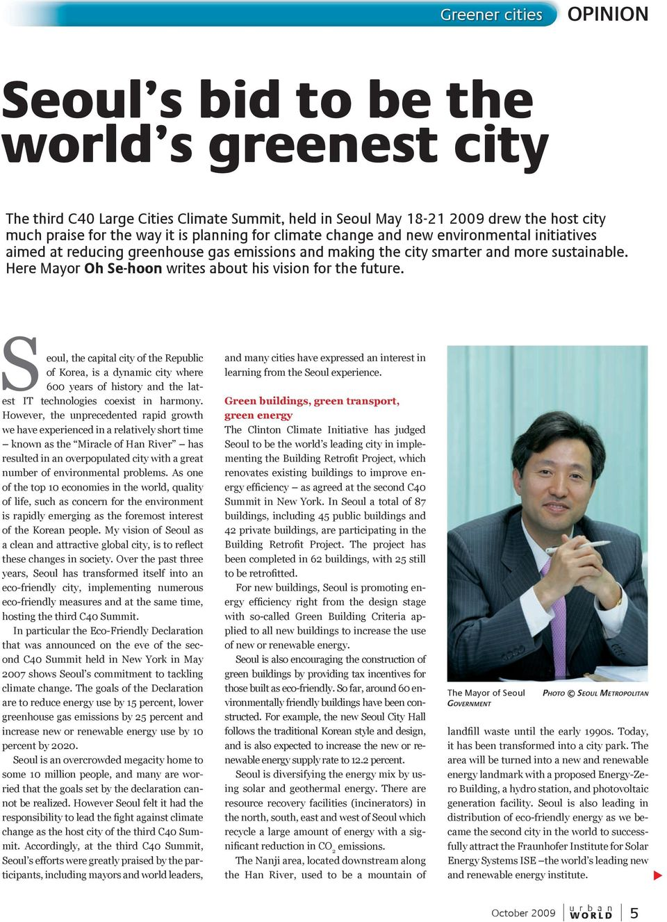 Here Mayor Oh Se-hoon writes about his vision for the future.