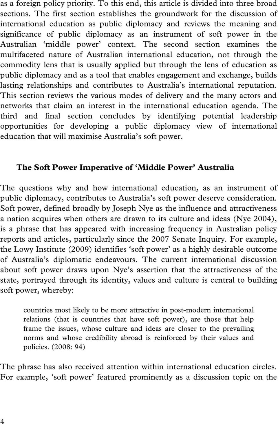 power in the Australian middle power context.