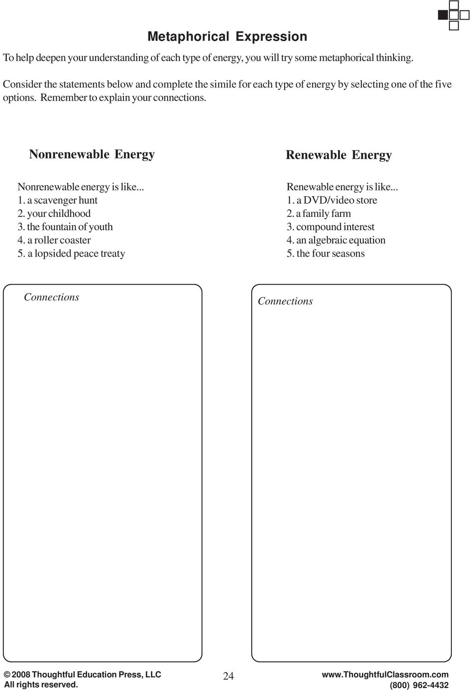 Nonrenewable Energy Renewable Energy Nonrenewable energy is like... 1. a scavenger hunt 2. your childhood 3. the fountain of youth 4. a roller coaster 5.