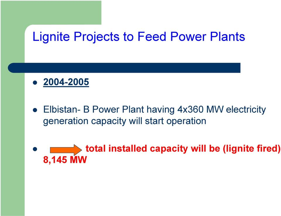 electricity generation capacity will start