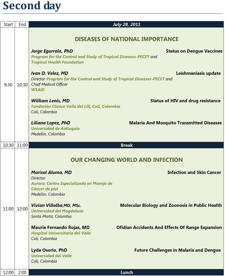 Velez, MD Director Program for the Control and Study of Tropical Diseases-PECET and Chief Medical Officer WSAID Leishmaniasis update William Lenis, MD Fundación Clínica Valle del Lili, Liliana Lopez,