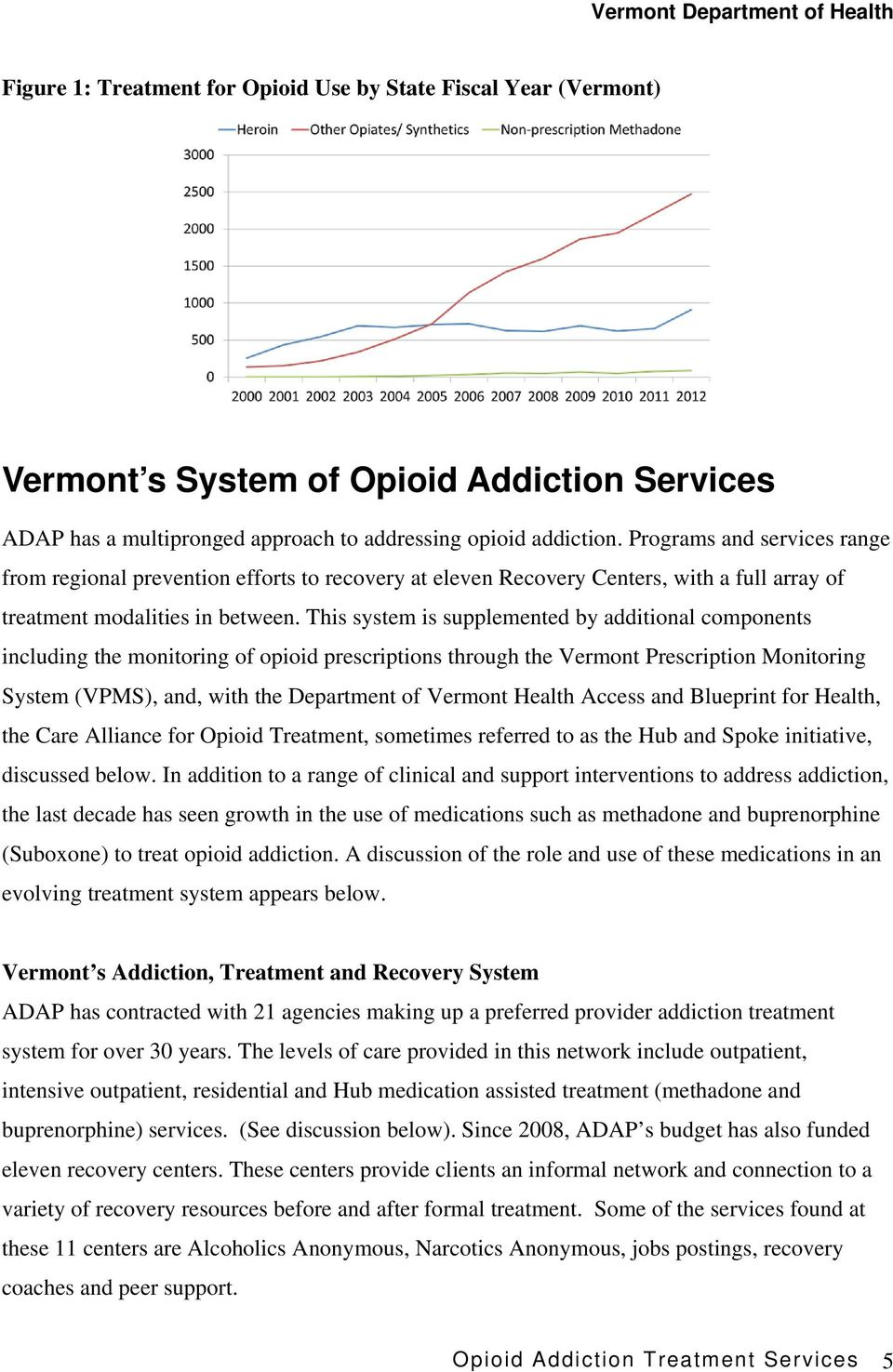This system is supplemented by additional components including the monitoring of opioid prescriptions through the Vermont Prescription Monitoring System (VPMS), and, with the Department of Vermont