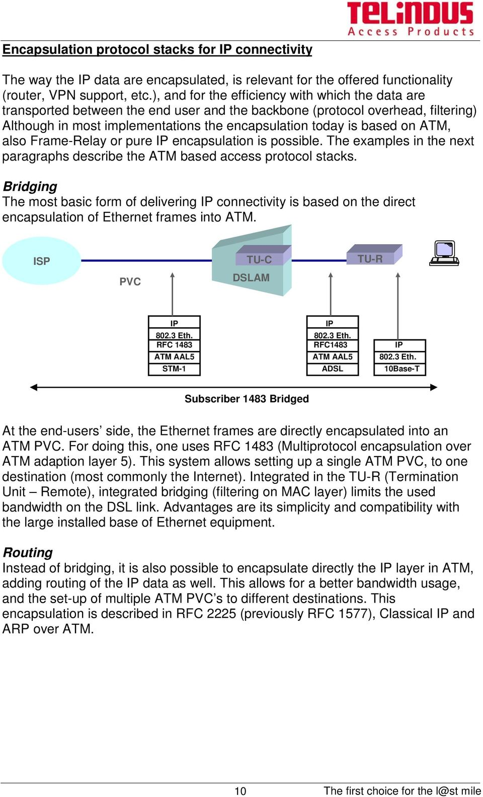 ATM, also Frame-Relay or pure encapsulation is possible. The examples in the next paragraphs describe the ATM based access protocol stacks.