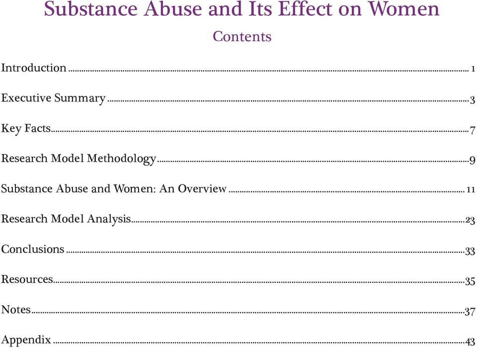 ..9 Substance Abuse and Women: An Overview.