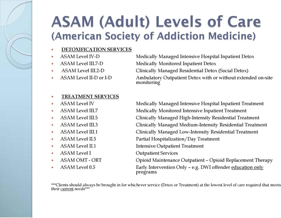 2-D Clinically Managed Residential Detox (Social Detox) ASAM Level II-D or I-D Ambulatory Outpatient Detox with or without extended on-site monitoring TREATMENT SERVICES ASAM Level IV Medically