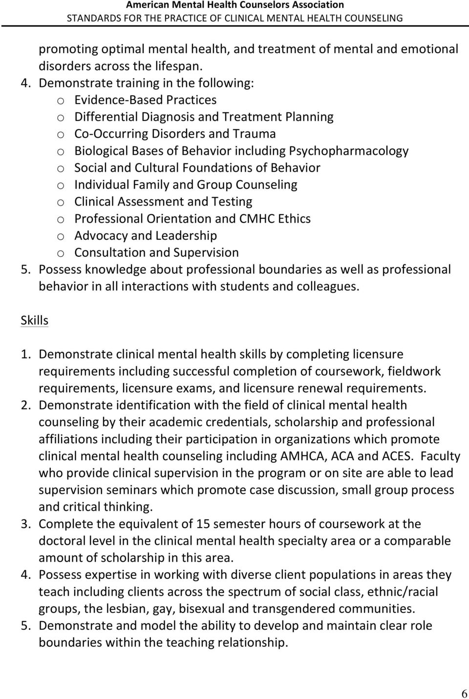 Psychopharmacology o Social and Cultural Foundations of Behavior o Individual Family and Group Counseling o Clinical Assessment and Testing o Professional Orientation and CMHC Ethics o Advocacy and