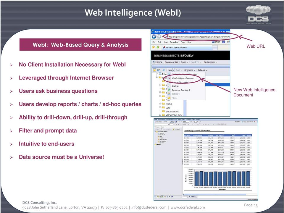 develop reports / charts / ad-hoc queries New Web Intelligence Document Ability to drill-down,