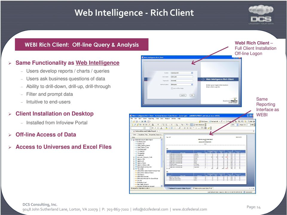 Installation on Desktop WEBI Rich Client: Off-line Query & Analysis WebI Rich Client Full Client Installation Off-line Logon