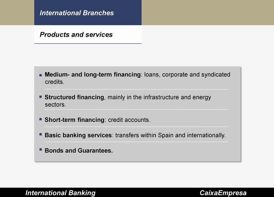 Structured financing, mainly in the infrastructure and energy sectors.