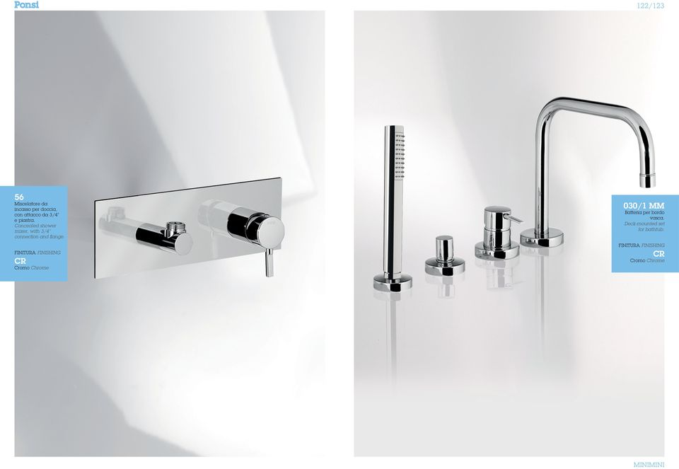 Concealed shower mixer, with 3/4 connection