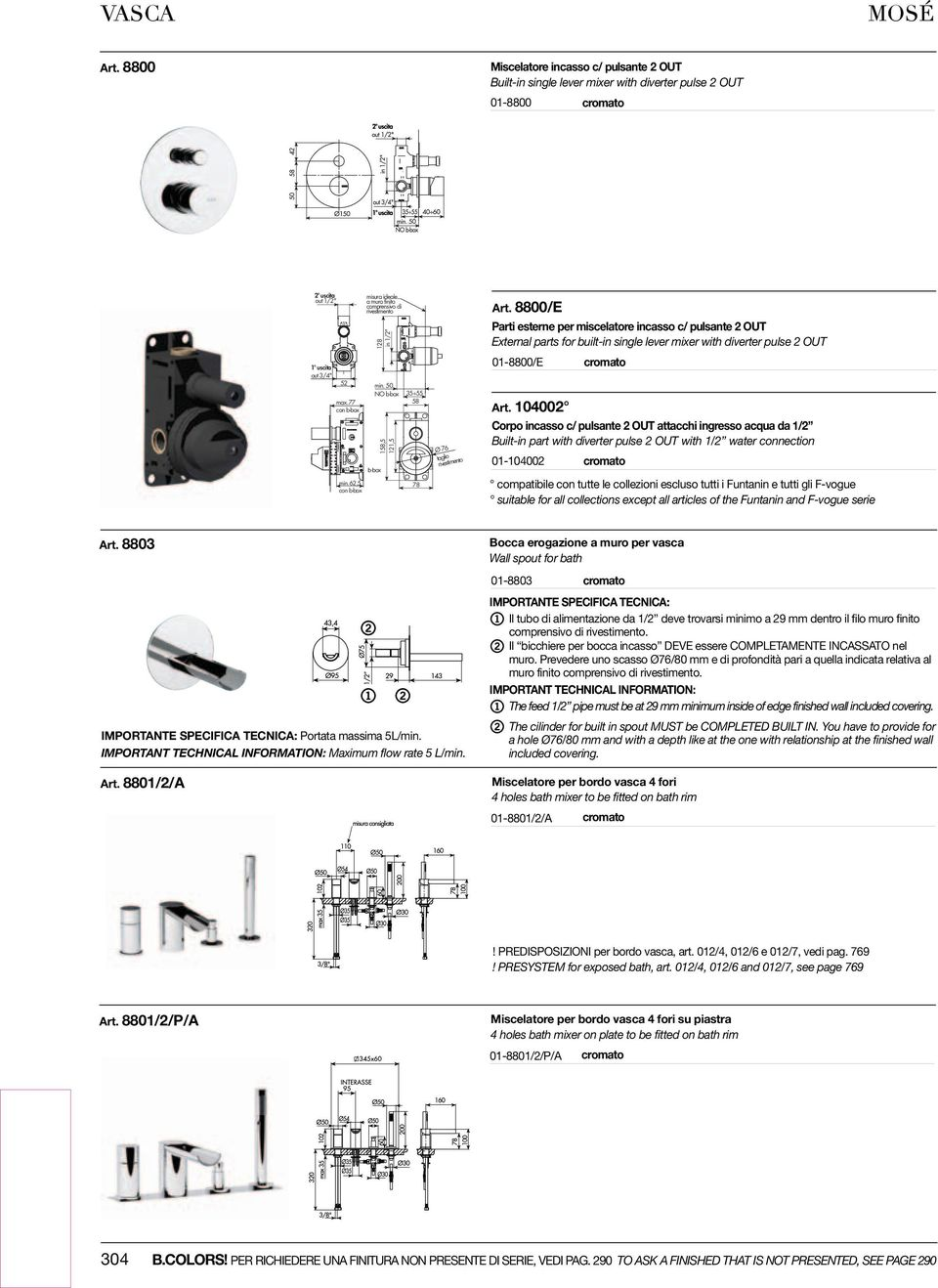 8800/E Parti esterne per miscelatore incasso c/ pulsante 2 OUT External parts for built-in single lever mixer with diverter pulse 2 OUT 01-8800/E Art.