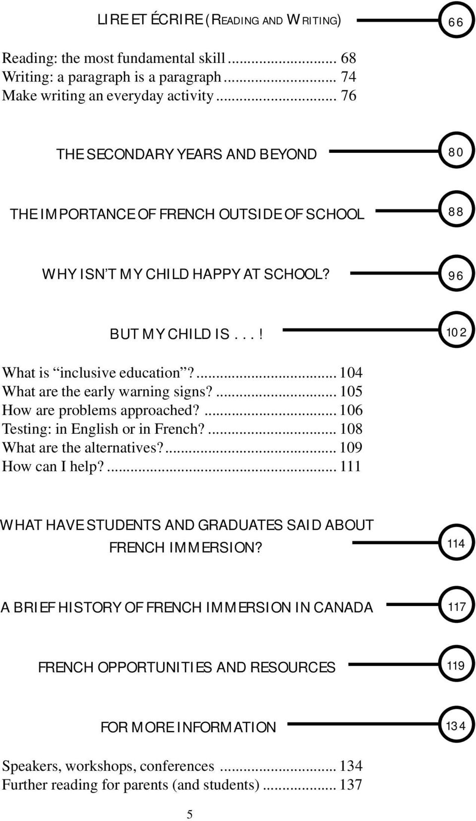 ... 104 What are the early warning signs?... 105 How are problems approached?... 106 Testing: in English or in French?... 108 What are the alternatives?... 109 How can I help?