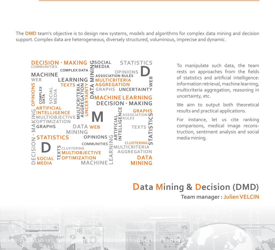 decision - making communities machine WEB learning opinions decision - making COMPLEX data social media graphs data mining statistics D social media texts COMPLEX data texts artificial intelligence