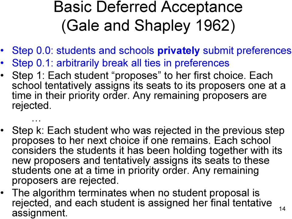 Any remaining proposers are rejected. Step k: Each student who was rejected in the previous step proposes to her next choice if one remains.